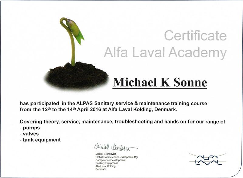 Alfa Laval Academy Certificate